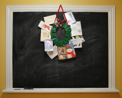 DIY Christmas Card Holder Wreath on DIY Chalkboard