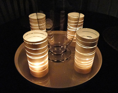 Rubber Band Spray-Paint Candle Holders