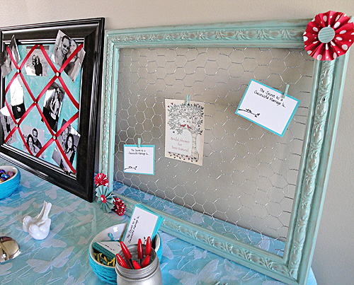 Make a frame to organize with chicken wire