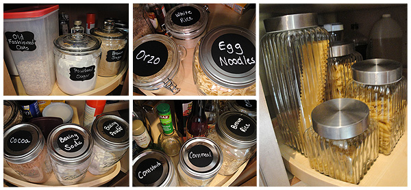 organized lazy susan with chalkboard labels