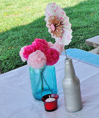 spring flowers bridal shower centerpiece