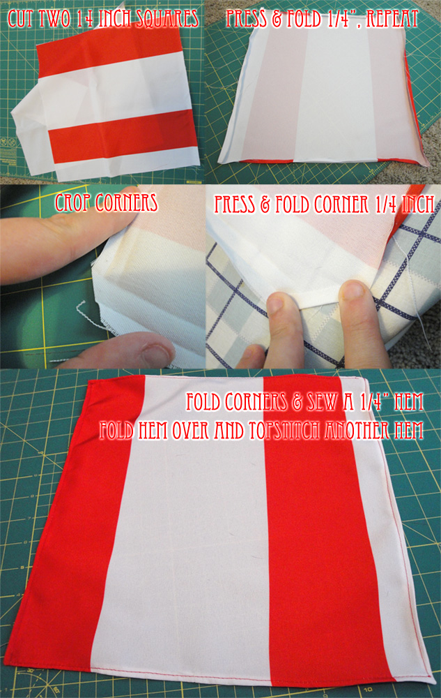 mitered corner napkins tutorial