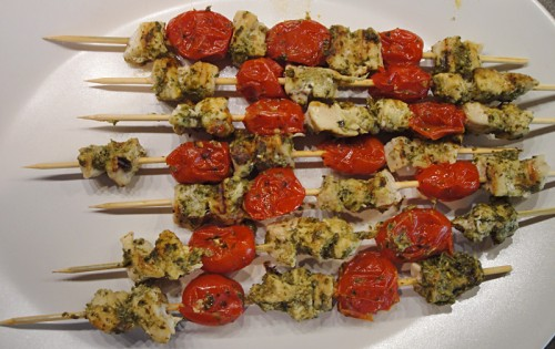 chicken pesto skewers