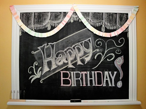 happy birthday chalkboard design