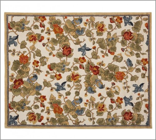 pottery barn bird floral rug
