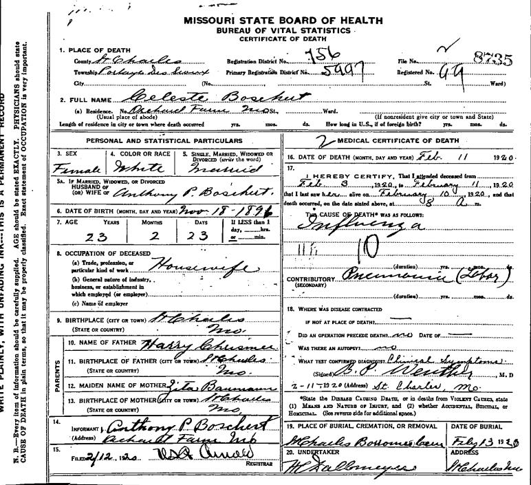 Celeste Death Certificate