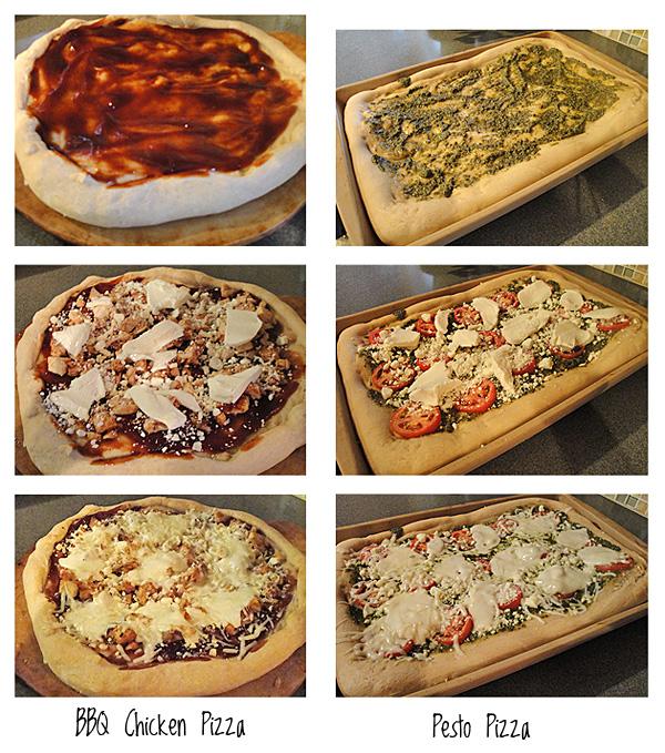 BBQ Chicken and Pesto Pizzas