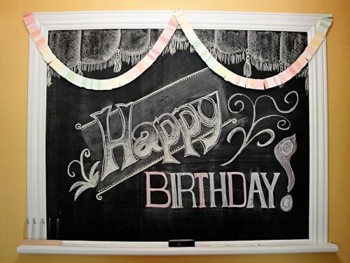 happy birthday chalkboard design