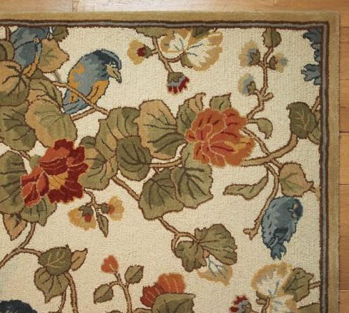 pottery barn bird floral rug