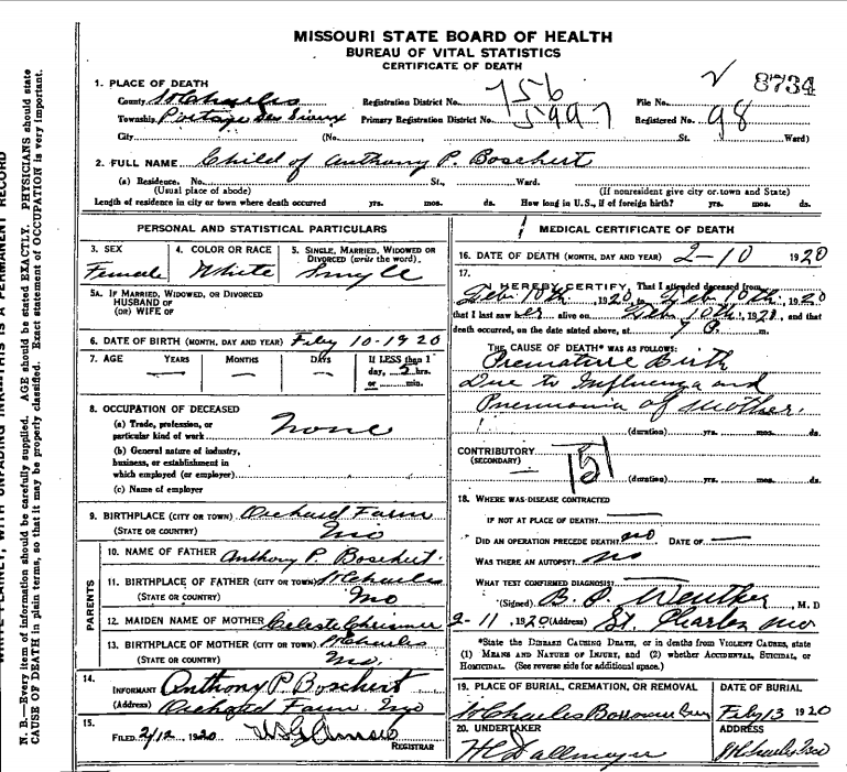 Baby Girl Death Certificate